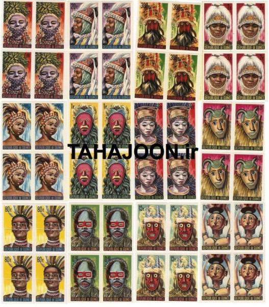 12 بلوک (48 عدد) تمبر سری ماسک های بومی کشور گینه