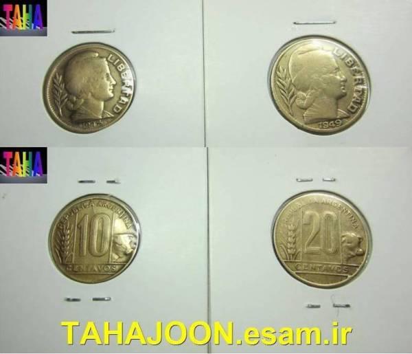 2 سکه کمیاب و قدیمی 10 و 20 سنتاووس آرژانتین
