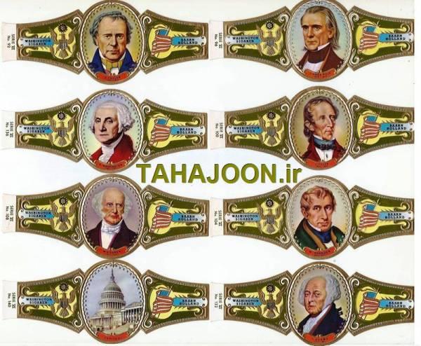 8 عدد لیبل بزرگ سیگار برگ سری رئیس جمهوران آمریکا