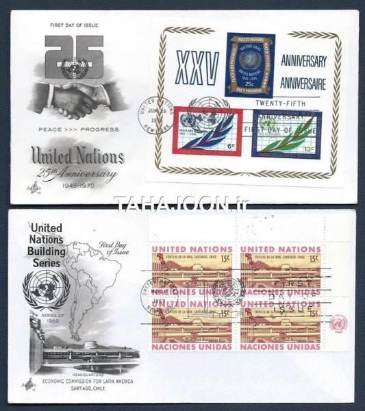 2 عدد پاکت مهر روز سازمان ملل 1969 , 1970 میلادی