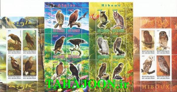 4 عدد مینی شیت بسیار زیبای پرندگان