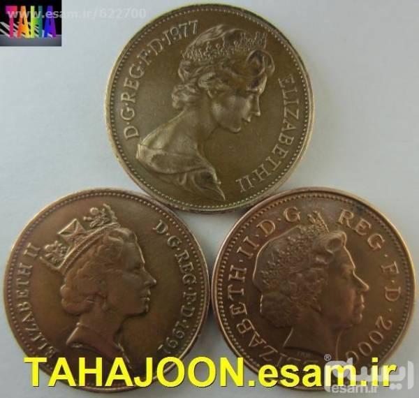 10 سکه 1 پنی انگلستان الیزابت تاج ا و 2 و 3
