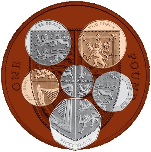 سری کامل سکه های طرح سپر انگلیس