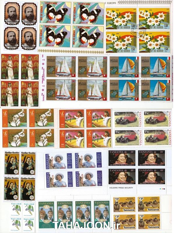 60 عدد تمبر زیبای خارجی (15 بلوک بی تکرار)
