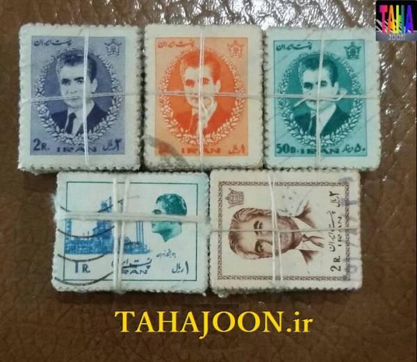 500 عدد تمبر پستی پهلوی در 5 مدل مختلف