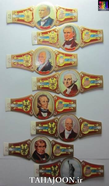 8 عدد لیبل سیگار برگ سری رئیس جمهوران آمریکا