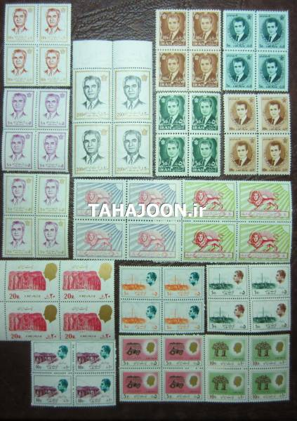 16 بلوک بی تکرار تمبر محمدرضا شاه پهلوی (64 عدد تمبر)