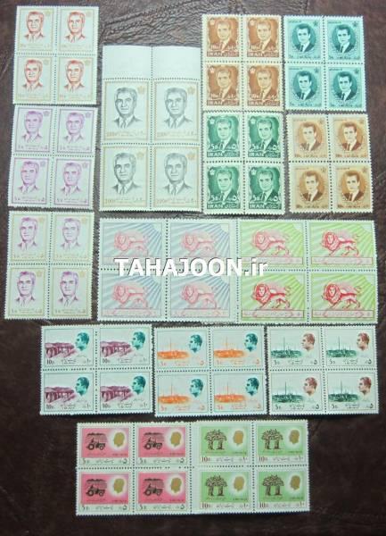 15 بلوک بی تکرار تمبر محمدرضا شاه پهلوی (60 عدد تمبر)